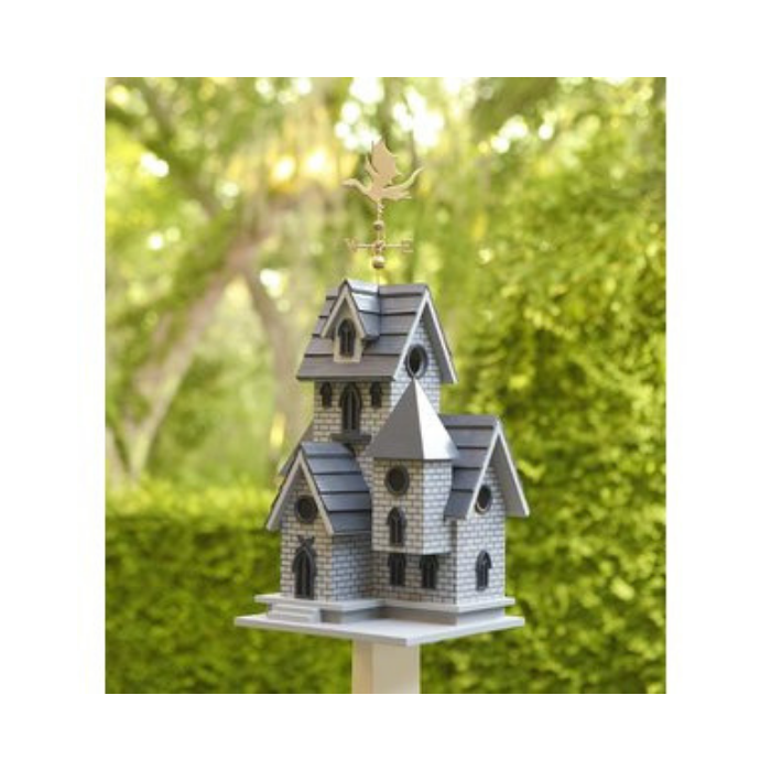 victorian style gray birdhouse