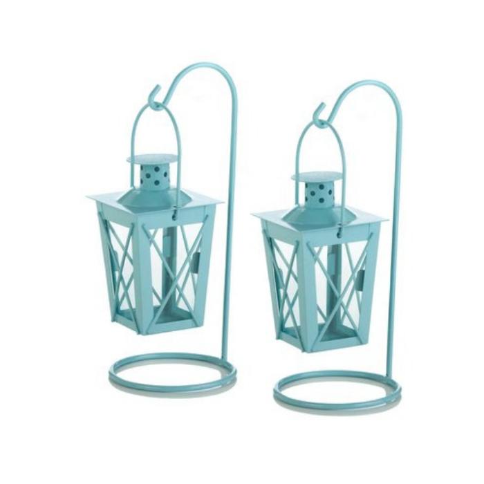 light blue metal outdoor lanterns