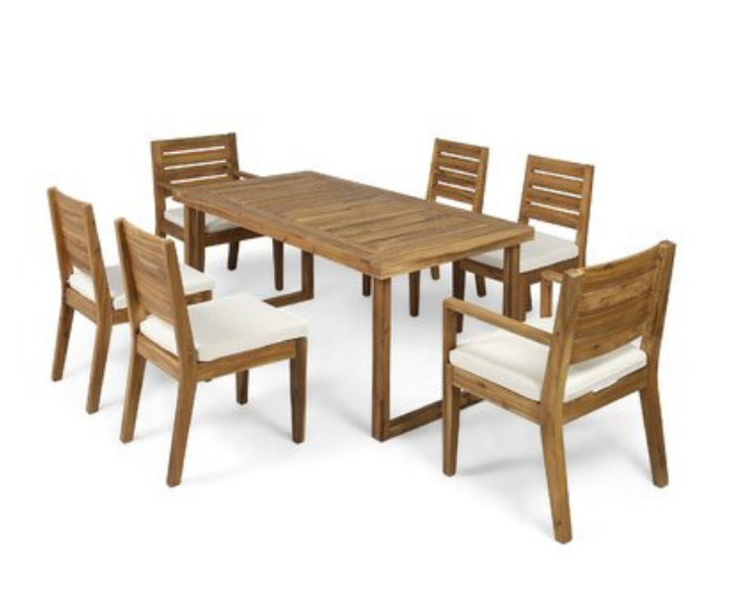 Wooden outdoor seating arrangement for 6 people on a white backdrop