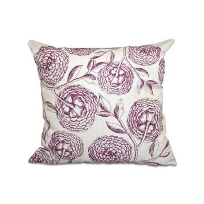 Cream colored outdoor throw pillow with burgundy sketched flowers