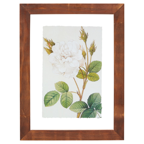 White rose artwork in a wooden frame.