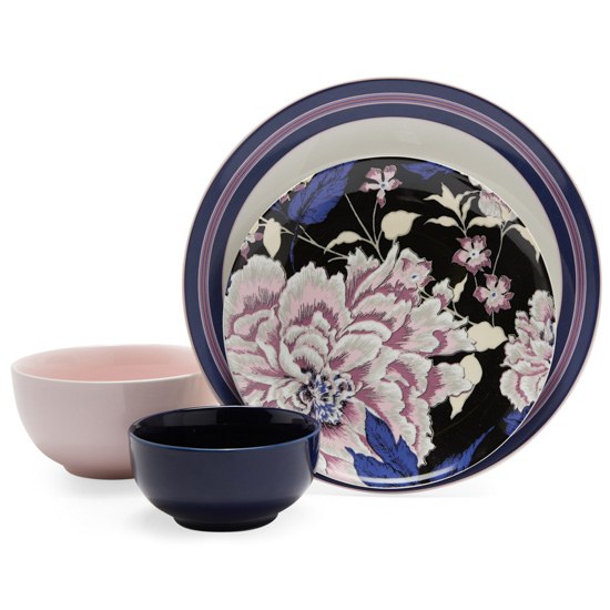 Four-piec dinnerware set with lavender, pink and navy hues.