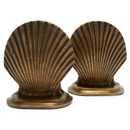 Bronze cast seashell bookends.