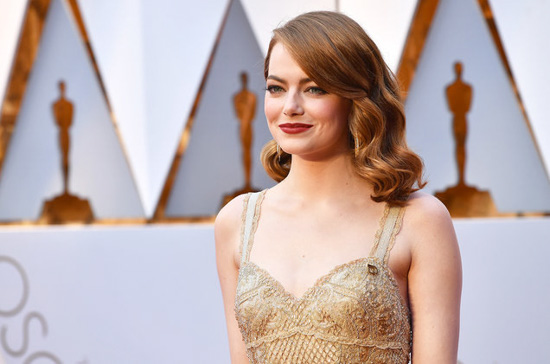 Emma Stone on the Academy Awards red carpet.