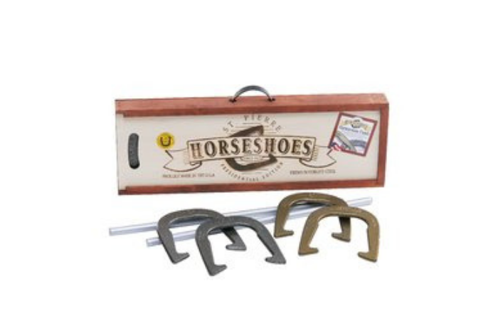 Horse Shoe Game Box and Horse Shoes
