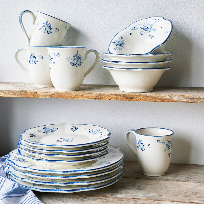 Blue and white china set