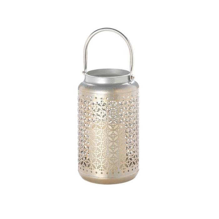 metallic outdoor lantern