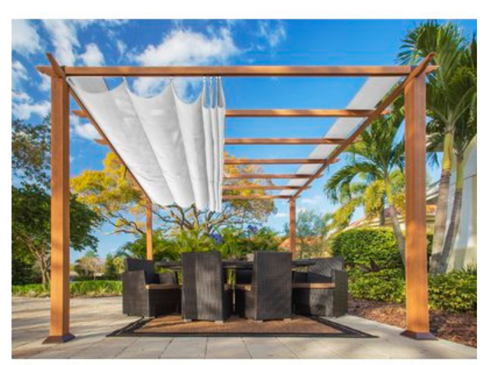 blue skies palm trees, wooden pergola and latticed outdoor seating