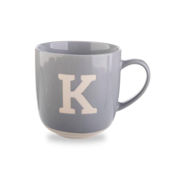 Gray Mug with White Rim Bottom and White Letter K