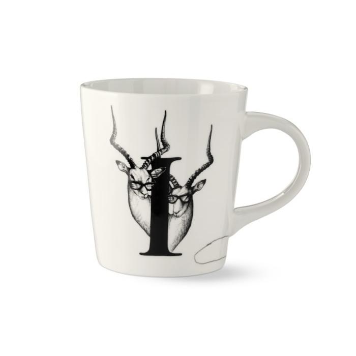 White Mug with Black Monogram Letter I and Gazelle Detail