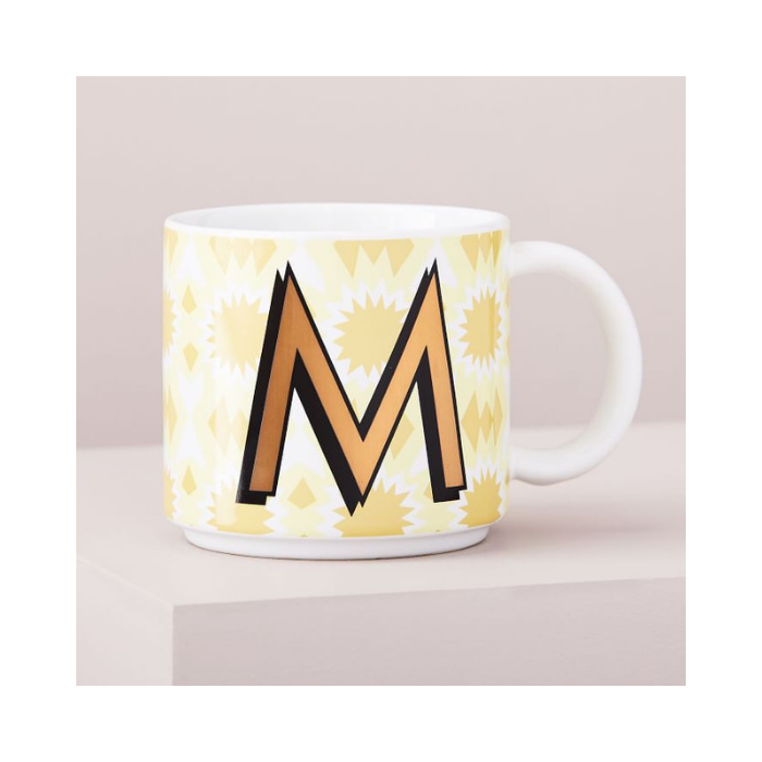 White Mug with Gold Letter M and Modern Yellow Design