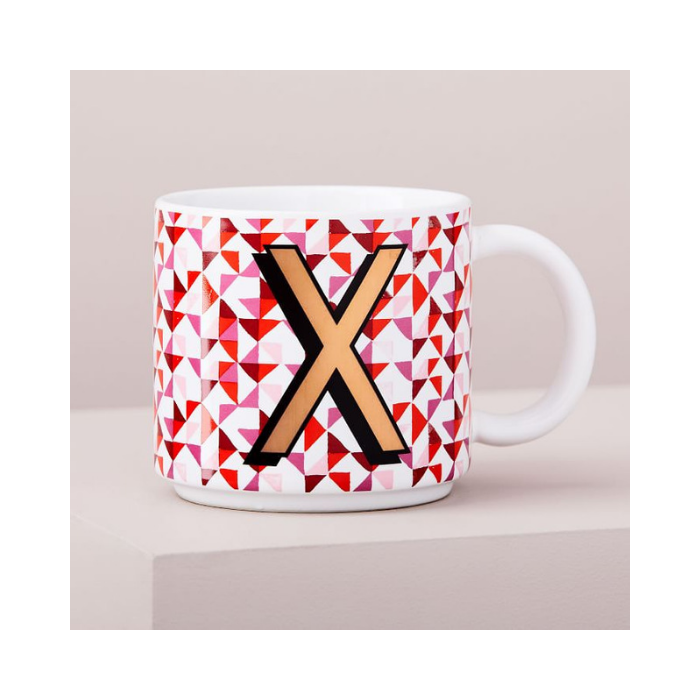 White Mug with Gold Monogram Letter X and Red Modern Detail