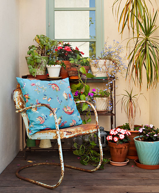 vintage patio chair and potted plants