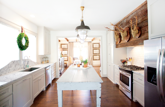 rustic cottage kitchen with faux taxidermy