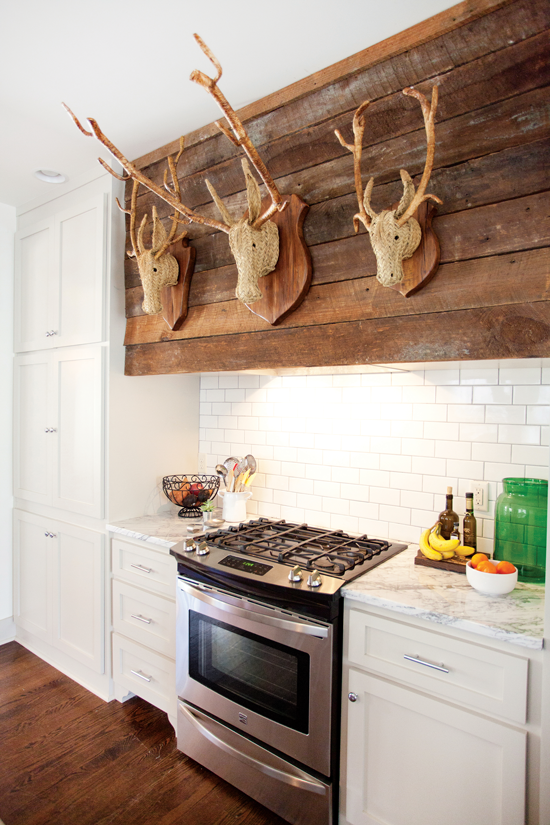reclaimed wood above a cottage kitchen