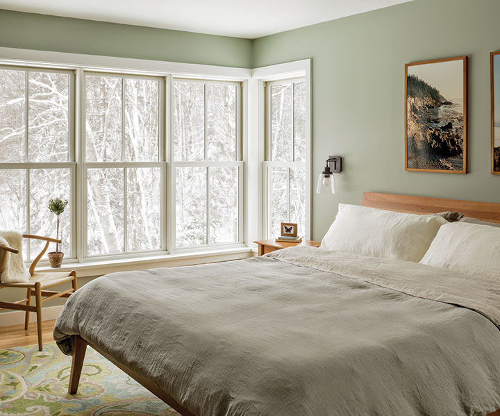 double hung windows in a bedroom