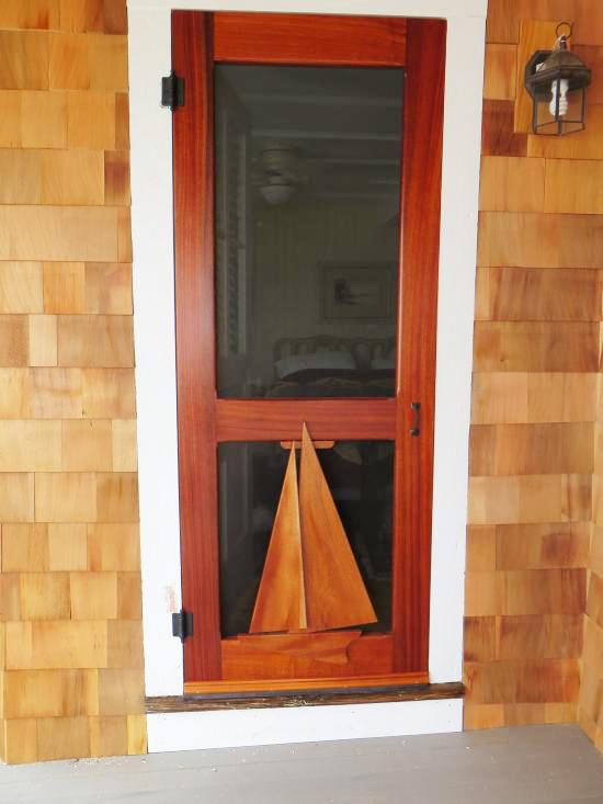vintage door with sailboat