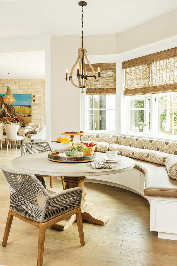 Modern farmhouse dining table with banquette seating