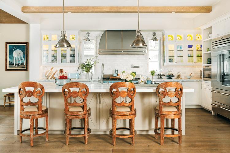 modern farmhouse kitchen island with stainless steel appliances