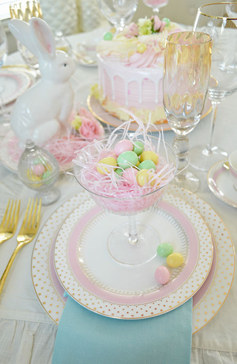 elegant easter table with polka dot plates