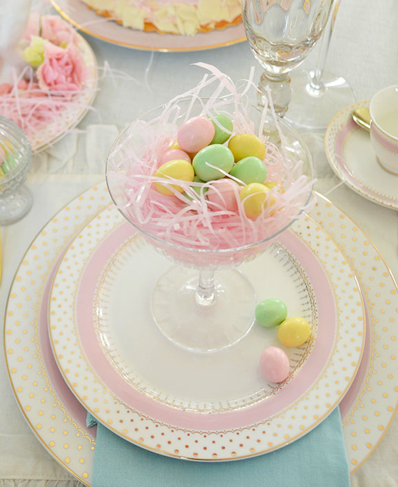 candy eggs in an elegant champagne glass
