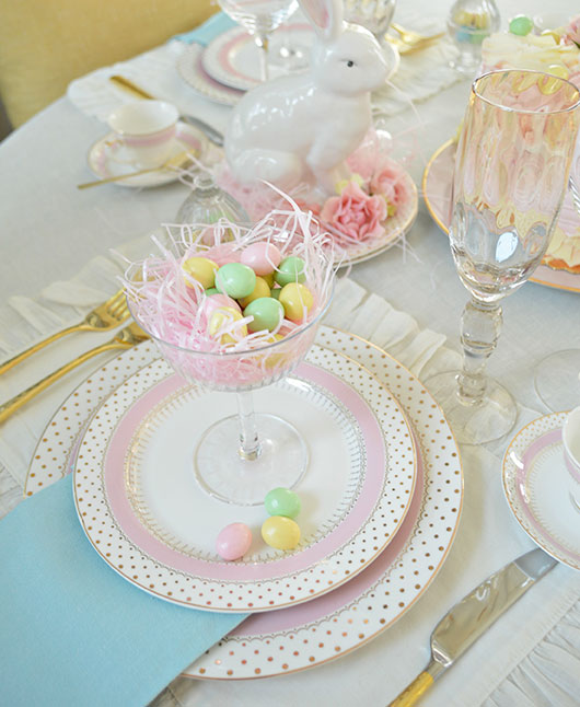 easter table setting with fine china