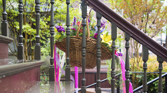Lovely May Day Basket displayed on a front stoop in Annapolis.