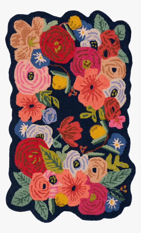 Large area rug with colorful, bold florals.