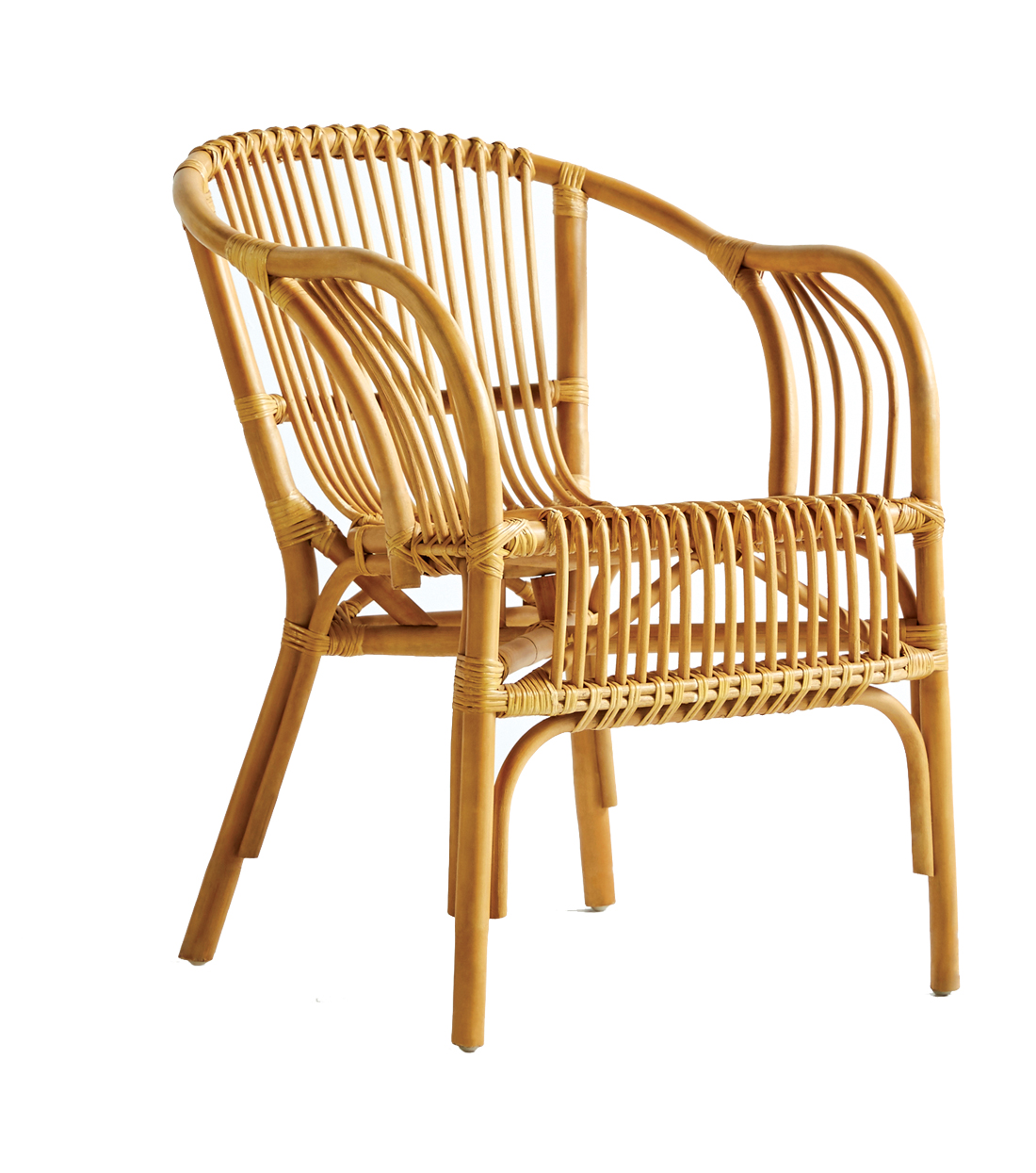 Rattan chair with arms.