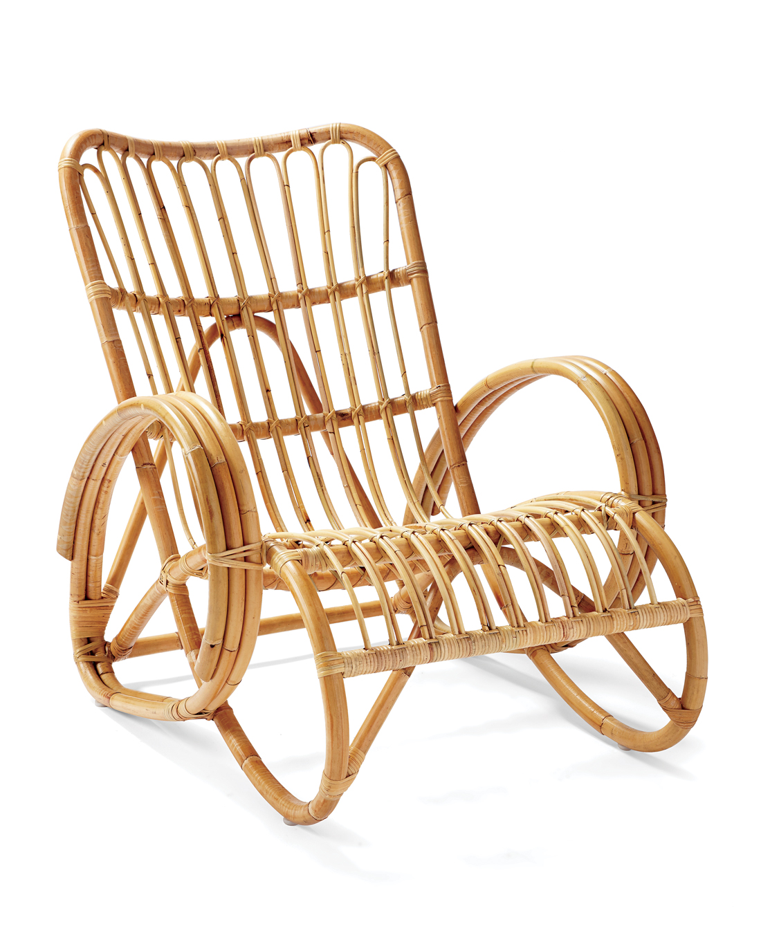 Rattan Chair with curvy edges, resembling a rocking chair.