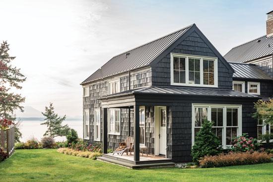 dark grey coastal cottage exterior