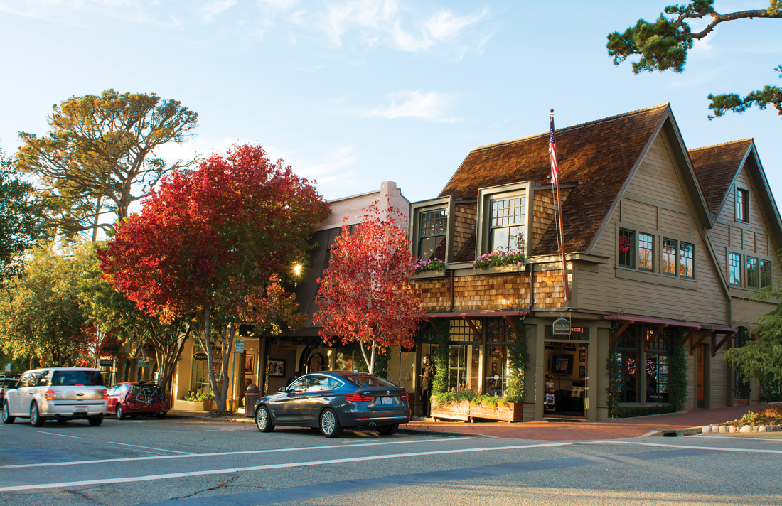 A charming street corner in Carmel-By-the-Sea, California.