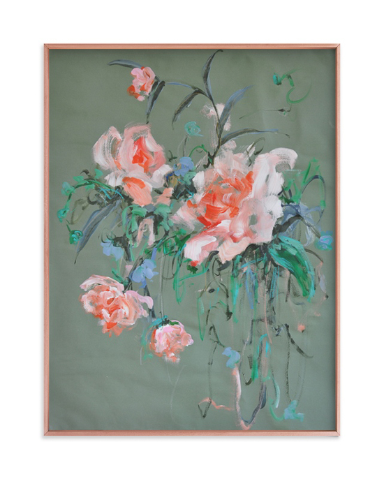 Framed art print of a pink and teal floral arrangement