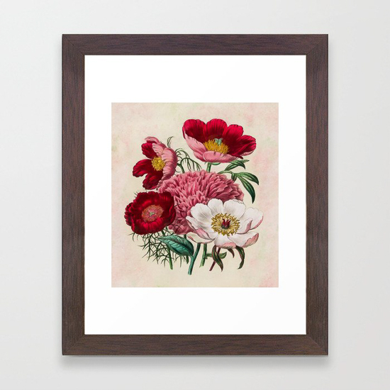 botanical floral wall print in wooden frame