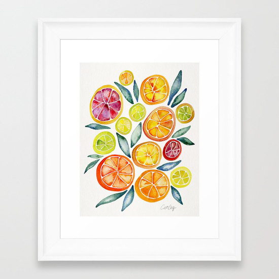 Watercolor print of sliced citrus on a white matte in a white frame