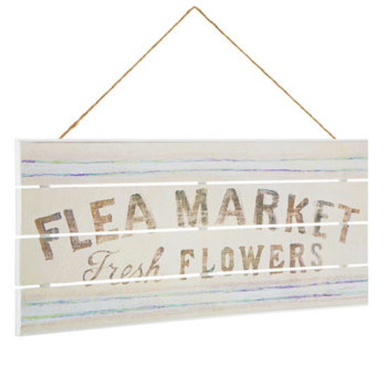 "Wooden wall sign that says ""flea market fresh flowers"""