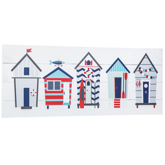 bright and colorful wooden art print of tiny beach cottages