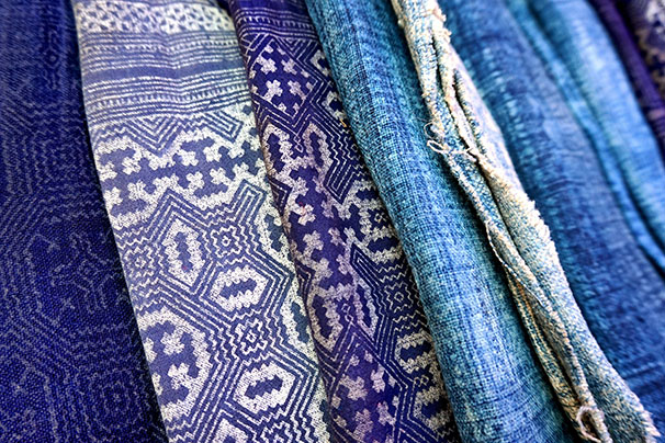 Shibori - A Japanese style of resist dyeing where fabric is folded, twisted and tied, then dipped in indigo dye.