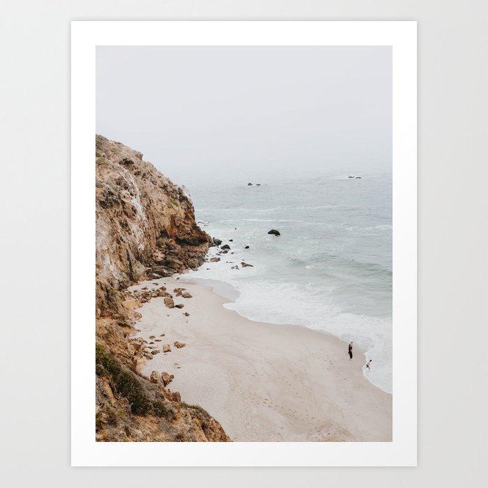 Fine art photo print of the malibu coastline with rocky cliff
