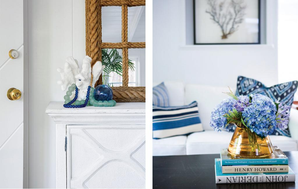 Side by side images of small coastal decor in the house, white pieces of coral, nautical rope, coffee table books and florals arranged in a golden vase.