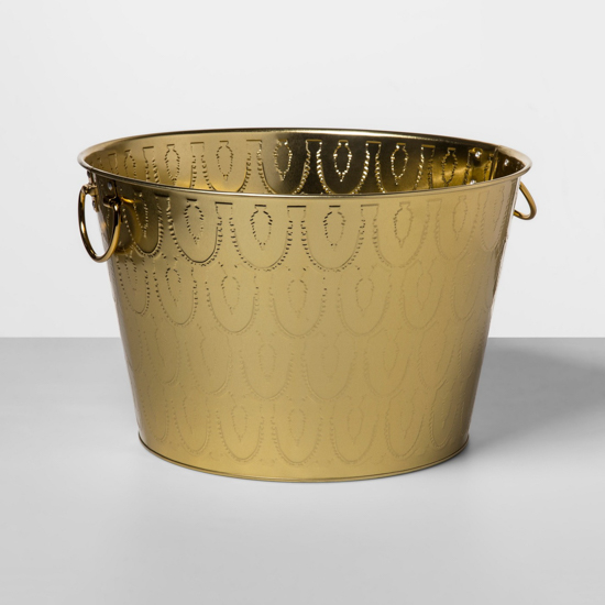 Copper beverage and ice bucket with punch out detail