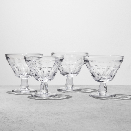 Set of four glass dessert dishes