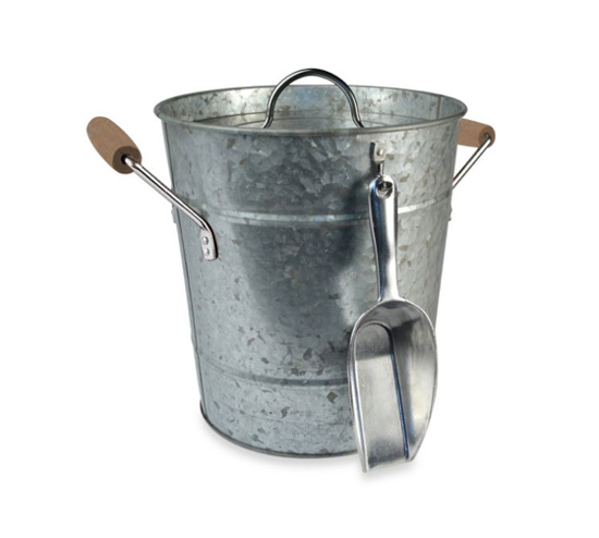 Galvanized metal ice bucket with a silver scoop.