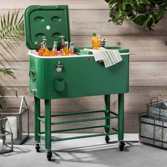 True green standing outdoor cooler on wheels