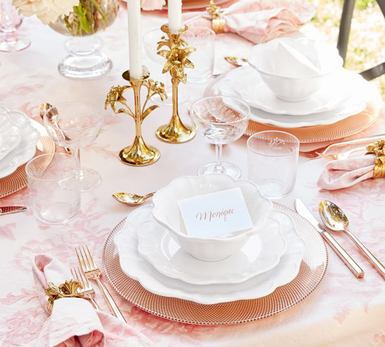 Fully designed table scape in shades of pinks and gold.