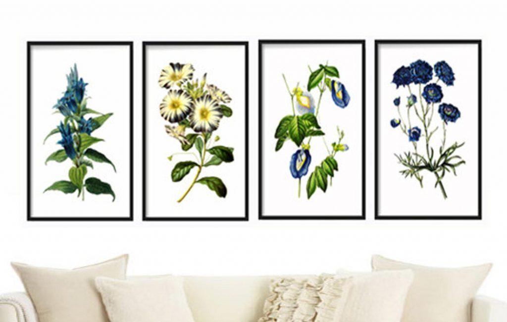 summer wall art botanical prints set of 4