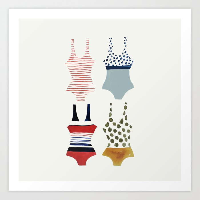 illustrated bathing suit wall summer art