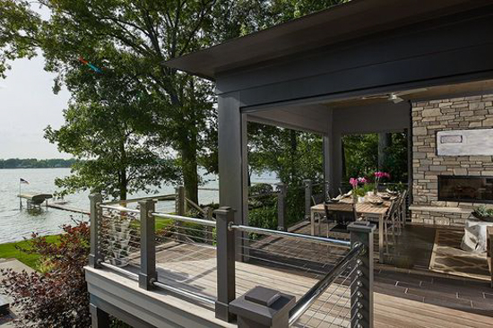 Modern deck with a lake side view