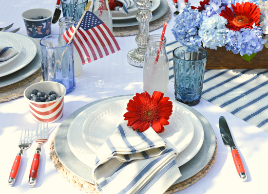 Charming Americana themed table scape.