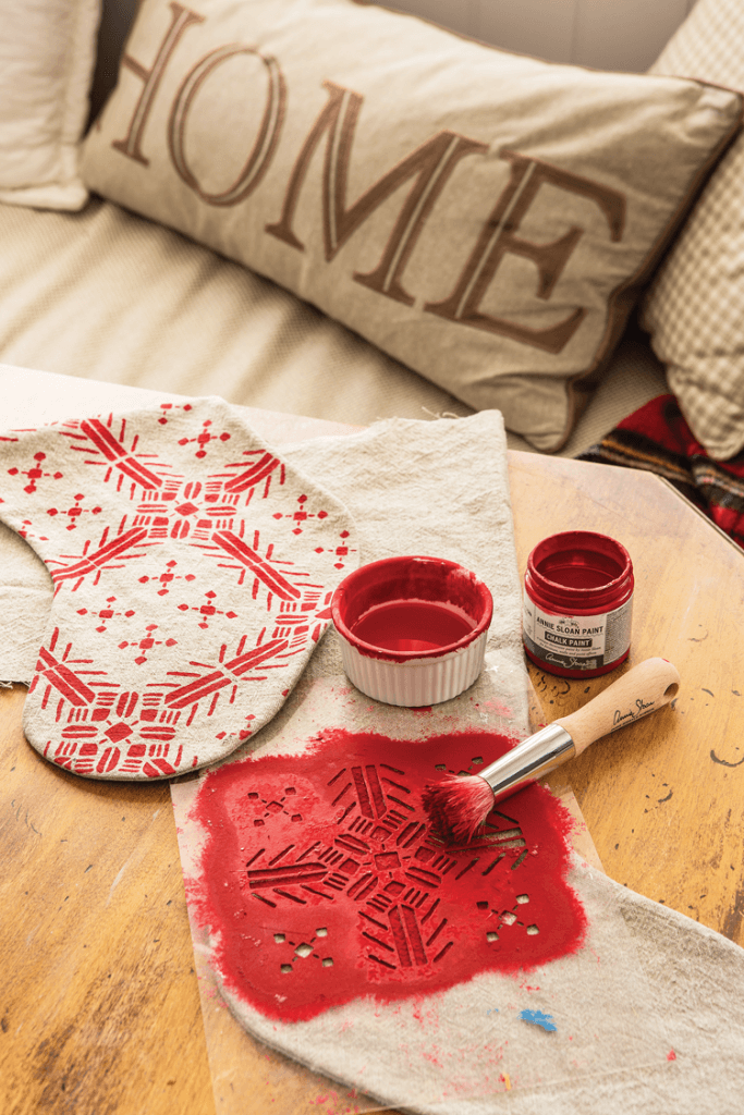 DIY Chalk Painted stocking with stencil and red paint